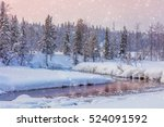 Winter Snowy Landscape With...