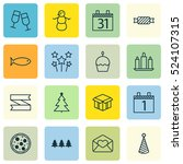 set of 16 new year icons. can... | Shutterstock .eps vector #524107315