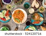 italian pasta with tomato sauce ... | Shutterstock . vector #524120716