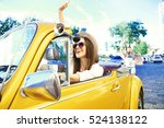 portrait of young girl driving...   Shutterstock . vector #524138122