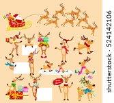 set of deer with banner... | Shutterstock .eps vector #524142106