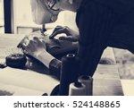 fashion designer cutting tailor ... | Shutterstock . vector #524148865
