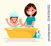 happy mother washes her baby.... | Shutterstock .eps vector #524156332