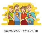 group of smiling friends with... | Shutterstock .eps vector #524164348