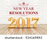 2017 new year resolutions... | Shutterstock . vector #524169892