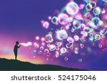 young man blowing glowing soap... | Shutterstock . vector #524175046