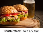 home made hamburger with beef ... | Shutterstock . vector #524179552