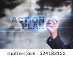 Small photo of Businessman is drawing on virtual screen. action plan concept.
