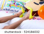 tired woman after party at home | Shutterstock . vector #524186032