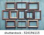 Old Wooden Frames On Old Blue...