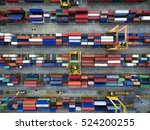 aerial view of cargo ship ... | Shutterstock . vector #524200255