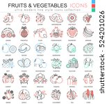 vector fruits and vegetables... | Shutterstock .eps vector #524201026