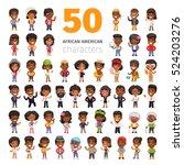 big set of 50 african american... | Shutterstock .eps vector #524203276