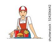 restaurant worker serving fast... | Shutterstock .eps vector #524206642