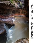 the subway slot canyon in zion... | Shutterstock . vector #524207398