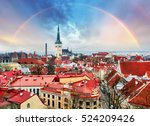 tallin aerial view of old town... | Shutterstock . vector #524209426