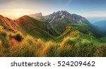 Stock photo mountain sunrise panorama in dolomites passo giau 524209462