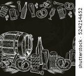 beer seamless horizontal border.... | Shutterstock .eps vector #524214652