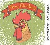 christmas rooster vector...   Shutterstock .eps vector #524219566