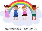 children and rainbow | Shutterstock .eps vector #52422421