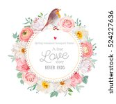 cute floral vector round card... | Shutterstock .eps vector #524227636