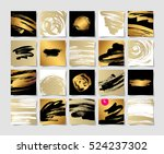 set of 20 black white and gold... | Shutterstock . vector #524237302