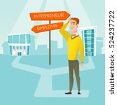 man standing at road sign with... | Shutterstock .eps vector #524237722