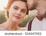 closeup portrait of pretty... | Shutterstock . vector #524247052