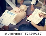 cpr first aid training concept | Shutterstock . vector #524249152