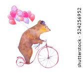 Stock photo watercolor cartoon bear on retro bicycle with air balloons hand drawn fairytale animal with hat 524256952