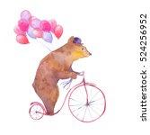 Watercolor Cartoon Bear On...