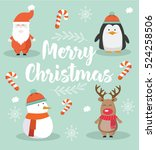 merry christmas cute modern ... | Shutterstock .eps vector #524258506