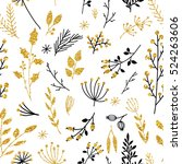 gold floral background. vector... | Shutterstock .eps vector #524263606
