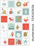 christmas advent calendar  hand ... | Shutterstock .eps vector #524263636