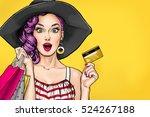pop art woman in black hat with ... | Shutterstock . vector #524267188
