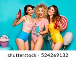 three young cool lady on a... | Shutterstock . vector #524269132