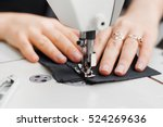 woman hands with fabric at... | Shutterstock . vector #524269636
