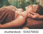 young woman having face massage ... | Shutterstock . vector #524270032