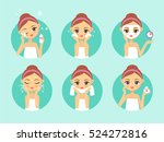 girl cleaning and care her face.... | Shutterstock .eps vector #524272816
