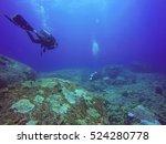 underwater scuba diving selfie... | Shutterstock . vector #524280778