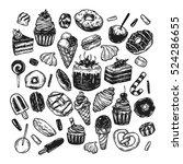 vector sweets. set of hand... | Shutterstock .eps vector #524286655