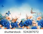 Stock photo amazing background with hydrangeas and daisies yellow and blue flowers on a white blank floral 524287072