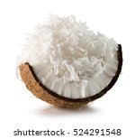 coconut with coconut flakes... | Shutterstock . vector #524291548