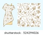 ethnic style dress mock up with ... | Shutterstock .eps vector #524294026