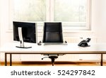 Stock photo modern empty office space desk with computer phone and chair concept of corporate job vacancy 524297842
