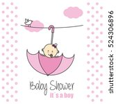 baby shower. it  s a girl | Shutterstock .eps vector #524306896