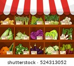 vegetable market stall with... | Shutterstock .eps vector #524313052