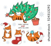 christmas and new year set.... | Shutterstock .eps vector #524313292