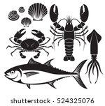 Seafood Silhouette Set. Lobste...
