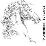 horse head brush strokes | Shutterstock .eps vector #52433026